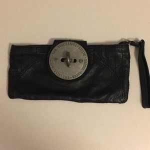 Diesel leather black clutch with oversized logo